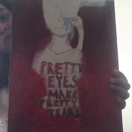 Heve Yusif: 'pretty eyes make pretty tears', 2017 Acrylic Painting, Urban. Artist Description: Aesthetically Pleasing art piece ...