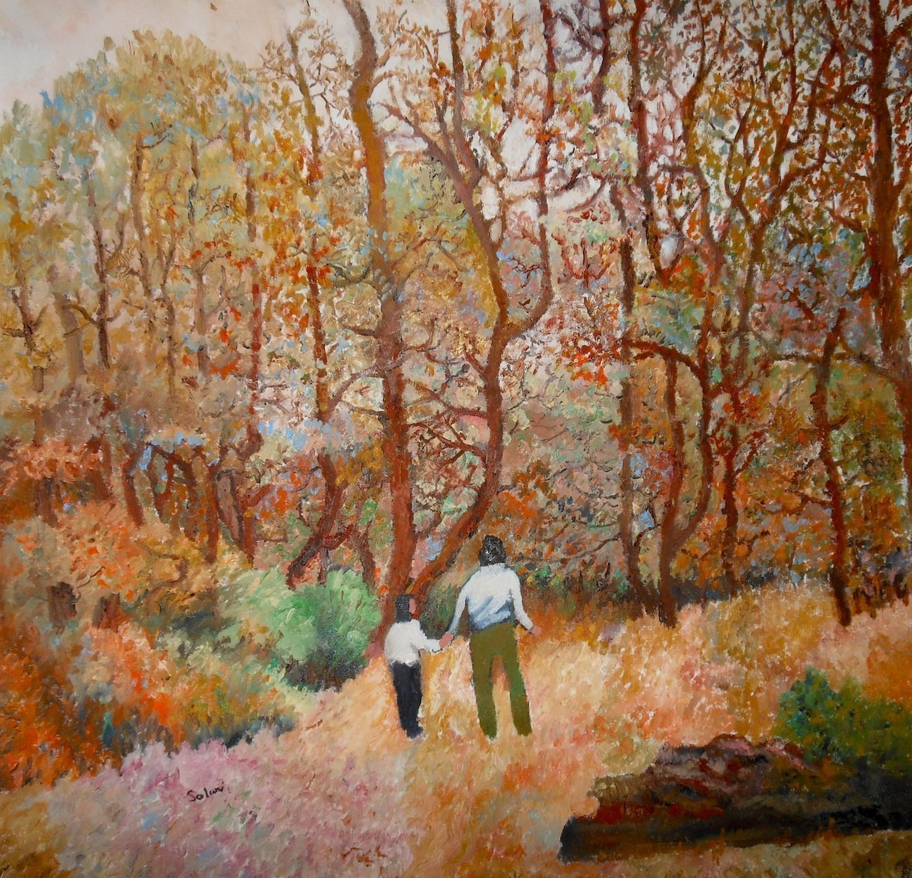 Robert Solari: 'a walk in the woods', 2018 Oil Painting, Landscape. Artist Description: This painting represents a mother and daughter enjoying the wonders of nature...