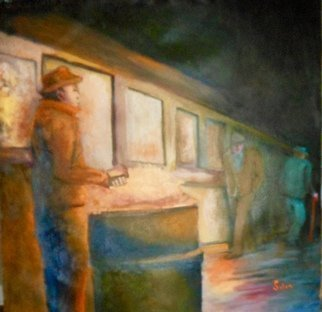 Robert Solari: 'the train station', 2017 Oil Painting, People. Artist Description: graphic, realism, diffused light, isolation, social, , atmosphere, adversity, city life, down time...