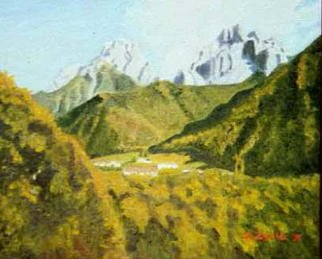 Aurelio Zerla Artwork Italian mountain view, 1992 Oil Painting, Landscape