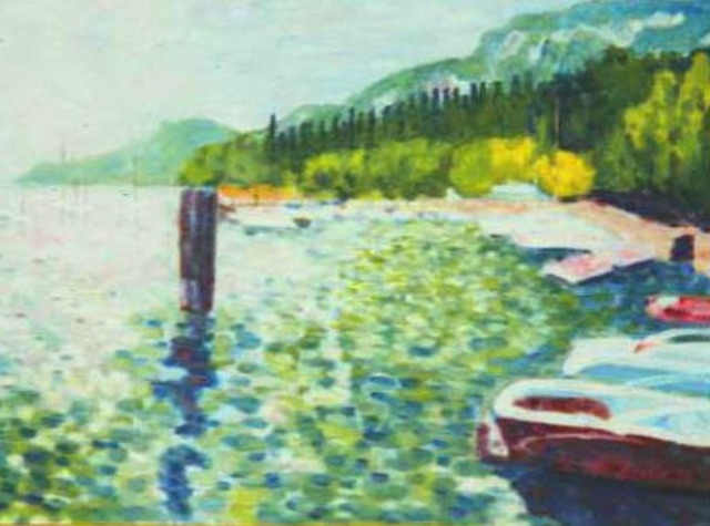 Aurelio Zerla  'Lake Garda', created in 1992, Original Painting Acrylic.