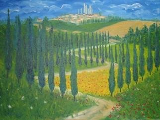 Aurelio Zerla Artwork San Gimignano fantasy, 2004 Oil Painting,