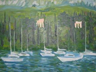 Artist: Aurelio Zerla - Title: Villas and boats on Lake Garda - Medium: Oil Painting - Year: 2005