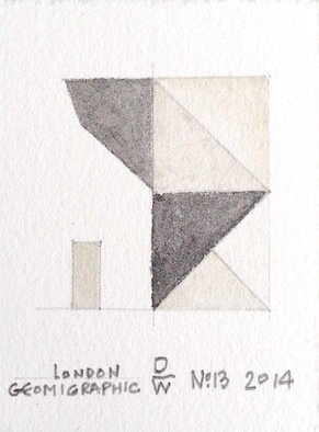 John Darling-wolf Artwork 'London Geomigraphic No13', 2014. Watercolor. Geometric. Artist Description: pencil drawing structure with watercolor on Rives BFK paper. This is a finished work that informs other work in print and sculpture by ......