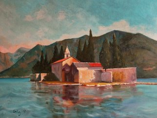 Rok Lekaj: 'church on the island', 2017 Oil Painting, Impressionism. Artist Description: impressionism, island, sea, Montenegro, ocean, nature...