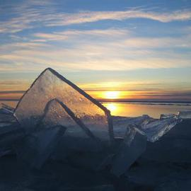 Art Dehls: 'Winchester Cathedral', 2007 Color Photograph, Landscape. Artist Description:  Large blocks of ice thrust up by the weather, photographed with sunset. ...