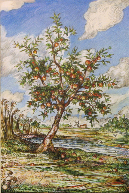 Artist Austen Pinkerton. 'Apple Tree By Stream' Artwork Image, Created in 2010, Original Painting Ink. #art #artist