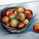 Apples in Bowl colour By Austen Pinkerton