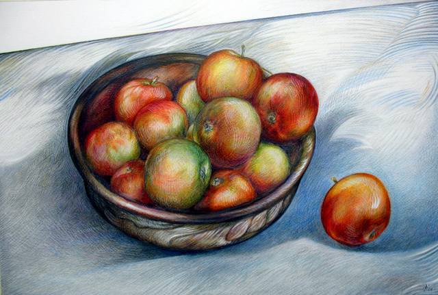 Austen Pinkerton  'Apples In Bowl Colour', created in 2009, Original Painting Ink.