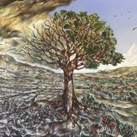 Austen Pinkerton: 'BRAVE NEW WORLD', 2014 Acrylic Painting, Landscape. Artist Description:           TREE LANDSCAPE EPIC GLOBAL WARMING  ...