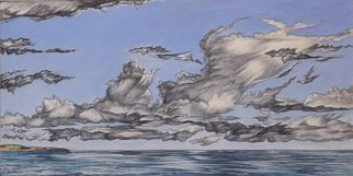 Austen Pinkerton: 'CLOUDS AT AMROTH', 2015 Acrylic Painting, Clouds. Artist Description:   SEA CLOUDS SEASIDE STORM WEATHER ...