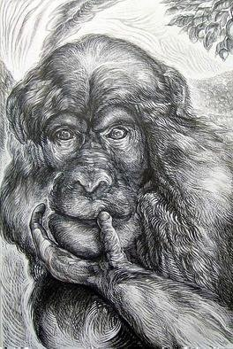 Austen Pinkerton Artwork 'Chimp', 2006. Other Drawing. Animals. Artist Description: Head and Shoulders of a Chimpanzee with hand across mouth as if ( and most pobably was) in thought. Background of endless forest, and ......