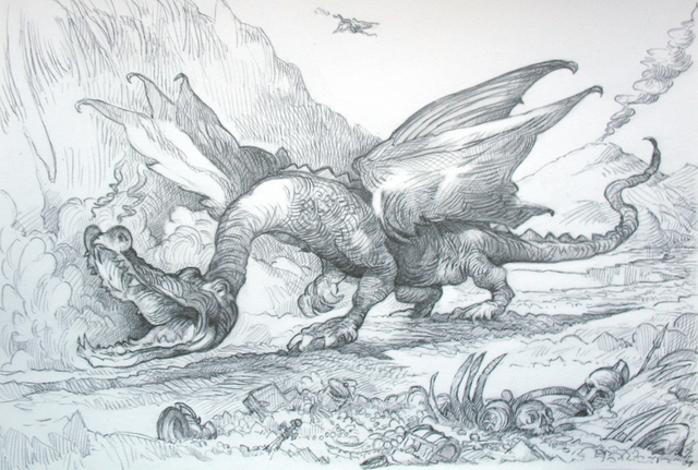 Austen Pinkerton  'DRAGON', created in 2009, Original Painting Ink.