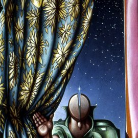Austen Pinkerton: 'Figure with Curtain and Stars', 1983 Acrylic Painting, Portrait.