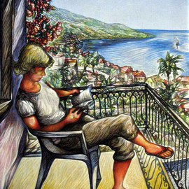 Austen Pinkerton: 'Hilary at Kalkan', 2010 Acrylic Painting, Portrait. Artist Description:  Image of Hilary, sitting reading, on a balcony with wrought iron railings, with flowers behind her head, and, in the background, a view of the town and across the bay. ...