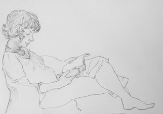 Austen Pinkerton: 'Hilary on hotel balcony', 2016 Graphite Drawing, Portrait. Artist Description:      reading hotel holiday resting ...