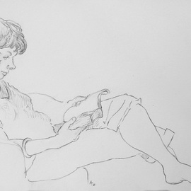 Austen Pinkerton Artwork Hilary on hotel balcony, 2016 Graphite Drawing, Portrait