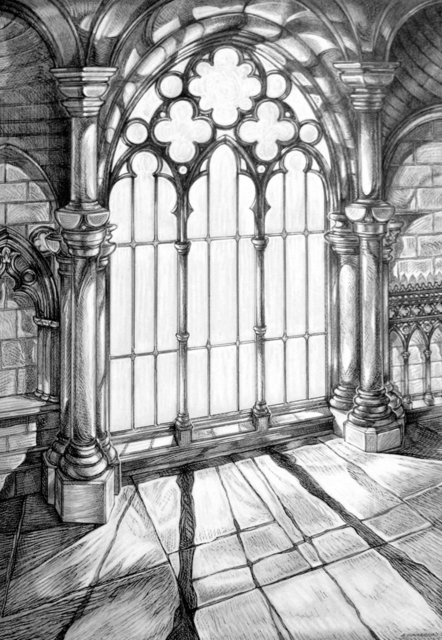 Austen Pinkerton  'LIGHT THROUGH CHURCH WINDOW', created in 2004, Original Painting Ink.