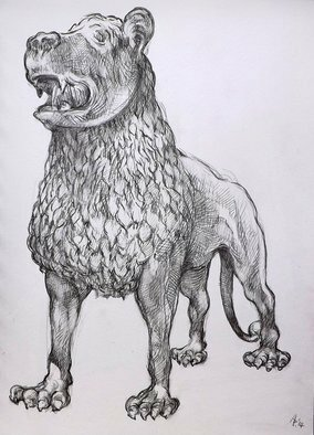Austen Pinkerton Artwork Lion Sculpture in Victoria and Albert Museum, London, 2014 Other Drawing, Animals