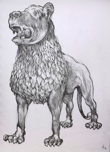 Austen Pinkerton  'Lion Sculpture In Victoria And Albert Museum, London', created in 2014, Original Painting Ink.