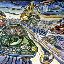 Austen Pinkerton Artwork Motorway Madness, 1988 Acrylic Painting, Travel
