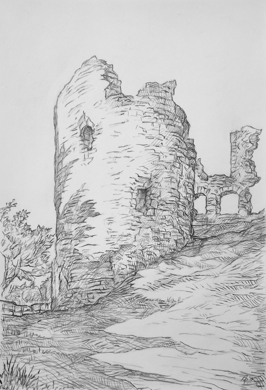 Narberth castle drawing by austen pinkerton