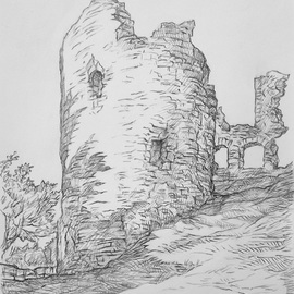 Austen Pinkerton Artwork NARBERTH CASTLE, 2015 Pencil Drawing, Architecture