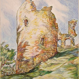 Austen Pinkerton Artwork NARBERTH CASTLE, 2015 Crayon Drawing, Architecture