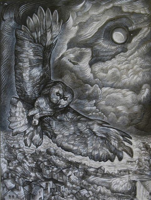 Austen Pinkerton  'Owl And Moon', created in 2010, Original Painting Ink.