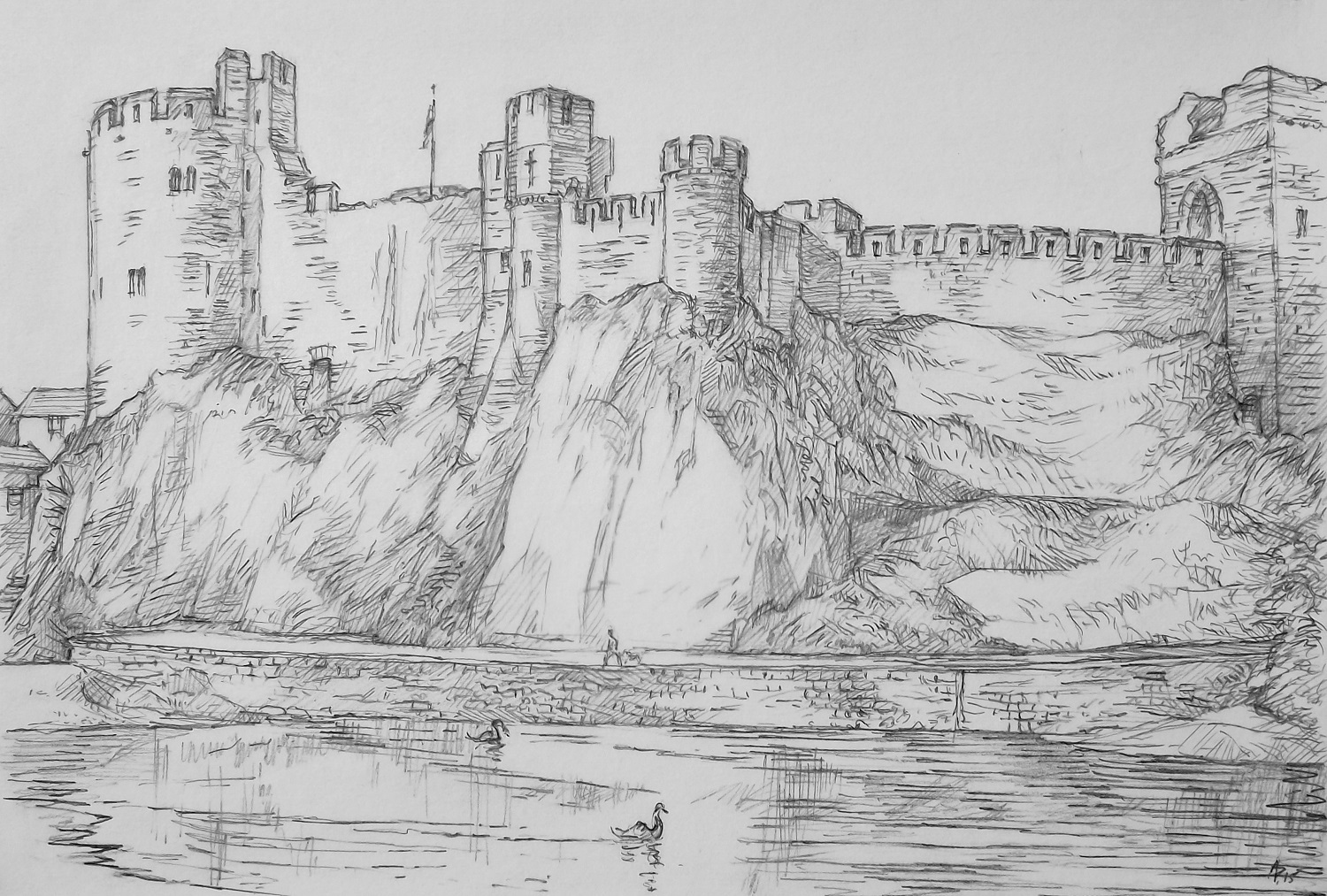 Architecture Drawing Pencil austen pinkerton artwork: pembroke castle | original drawing