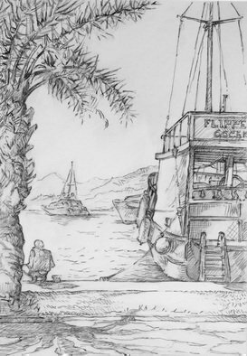 Austen Pinkerton: 'Quay at Gocek', 2016 Graphite Drawing, Seascape.         trees palms boats harbour quayside  ...