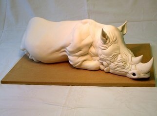 Austen Pinkerton: 'RECUMBENT RHINOCEROS', 2010 Ceramic Sculpture, Other.