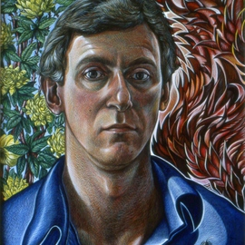 Austen Pinkerton: 'Self Portrait with Flames and Flowers', 1985 Acrylic Painting, Portrait.