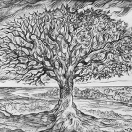 Austen Pinkerton Artwork Study for Brave New World, 2014 Pencil Drawing, Landscape