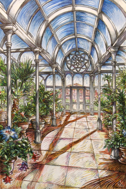 Austen Pinkerton  'The Conservatory', created in 2010, Original Painting Ink.