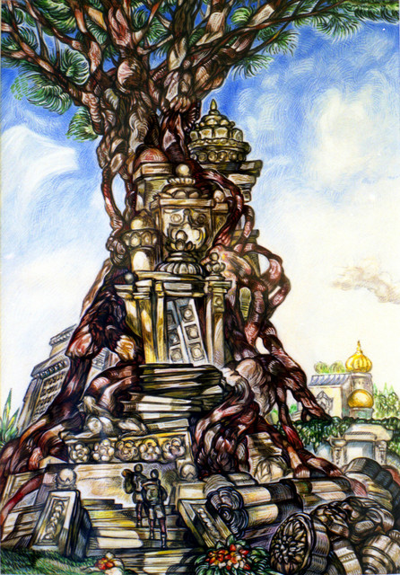 Austen Pinkerton  'Tree And Temple', created in 1999, Original Painting Ink.