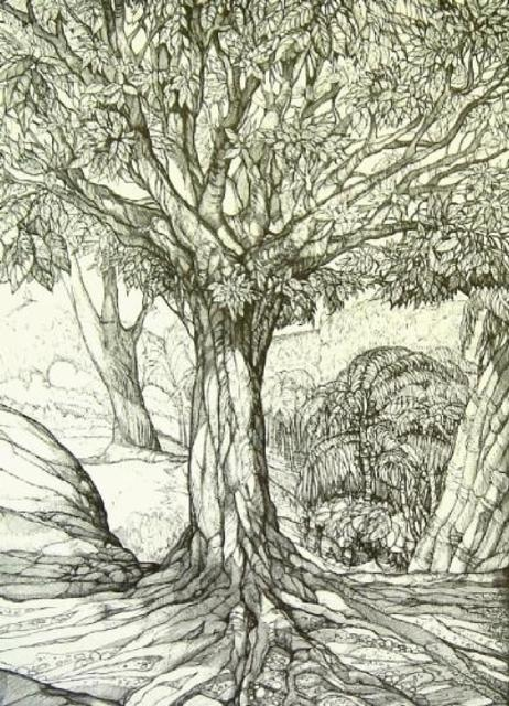 Austen Pinkerton  'Tree In Forest', created in 1995, Original Painting Ink.