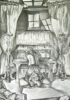 Austen Pinkerton: 'Who was that', 2005 Pen Drawing, Interior. Figure at prayer, kneeling on cushion, in front of curtains with a window above. Through the window can be seen the moon and clouds. In front of the curtains are two freestanding candlesticks, and in front of the figure is a table with two ranks of small lit candles. In ...