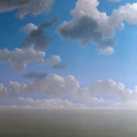 Austen Pinkerton: 'clouds', 1976 Acrylic Painting, Landscape. Artist Description: CLOUDS SKY LONELINESS...