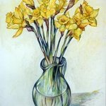 daffodils in glass vase By Austen Pinkerton