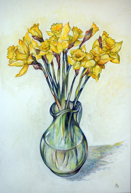 Austen Pinkerton  'Daffodils In Glass Vase', created in 2018, Original Painting Ink.