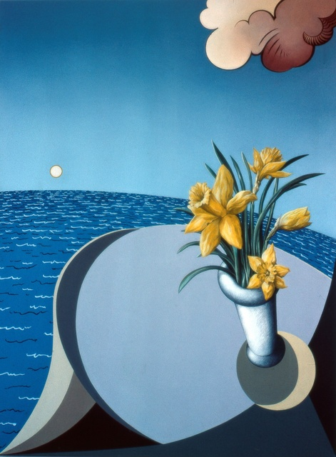 Austen Pinkerton daffodils table and sea 1979