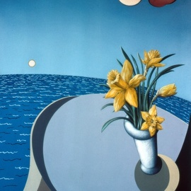 Austen Pinkerton: 'daffodils table and sea', 1979 Acrylic Painting, Landscape. Artist Description: Holidays Sea Sun Flowers Daffodils...