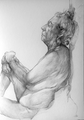 Austen Pinkerton: 'dorothy number two', 2019 Graphite Drawing, Life. Dorothy posed for us at Narberth Life Drawing Group, Wales, U. K. for the second week running on Friday. Did this drawing of her and finished it on the day. . . . . 42 x 30 cm, pencil on card...