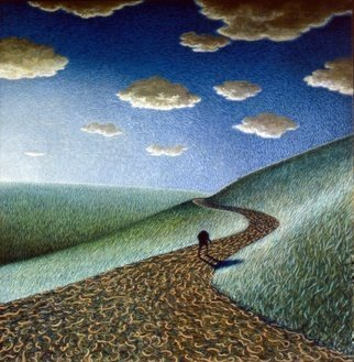 Austen Pinkerton: 'figure on path with sunset', 1978 Acrylic Painting, Landscape. landscape sunset solitude...
