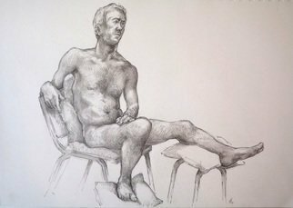 Austen Pinkerton: 'indigo number 9', 2019 Graphite Drawing, Life. Last Friday s  10th November  main work at the Narberth Life Drawing Group:   Indigo No. 9  , 21 x 3,0 cm, Pencil and blender. ...