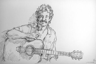 Austen Pinkerton: 'jim croce', 2017 Graphite Drawing, Portrait. Artist Description: Rock  Pop  People  Portraits Guitar...
