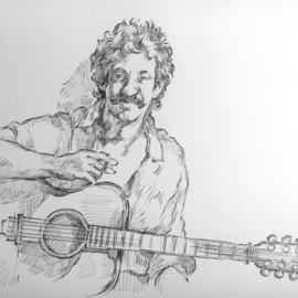 Austen Pinkerton Artwork jim croce, 2017 Graphite Drawing, Portrait