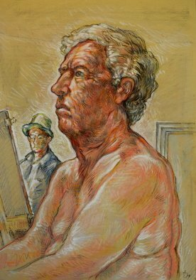 Austen Pinkerton: 'john number five', 2019 Pastel Drawing, Life. Life study of nude at narberth life drawing group, . south wales, UK...
