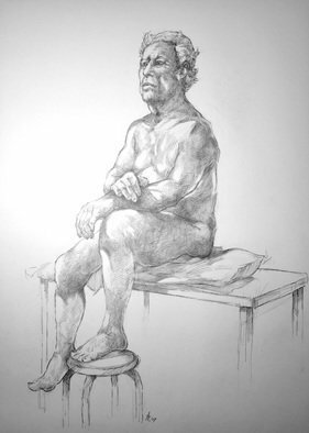 Austen Pinkerton: 'john number nine', 2019 Graphite Drawing, Life. Narberth Museum Life Drawing Group Friday 13th December Pencil and Blender 40 x 50 cm...